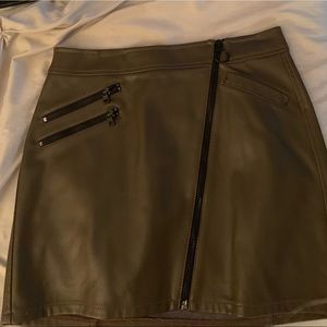 Army green leather mini skirt
